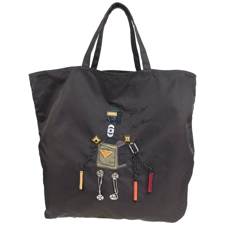 Prada robot applique nylon tote bag For Sale