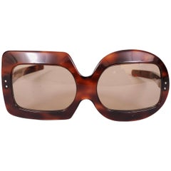 Pierre Cardin Tortoise Sunglasses with Whimsical Square and Round Lenses