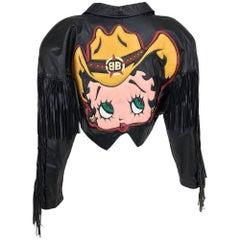 Maziar Betty Boop cowgirl black fringe leather jacket 1980s