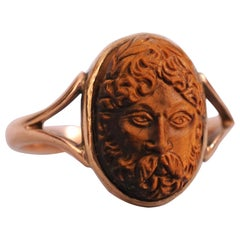 Carved Tiger's Eye and Gold Ring Depicting Zeus God of the Sky