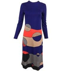 Louis Feraud Op Art Mod print jersey dress 1960s