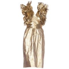 Fab Gold Lamé Gucci Style Ruffled 1980s Party Dress