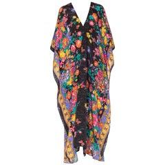 1980s Jacquard Satin Versace Style Floral Kaftan