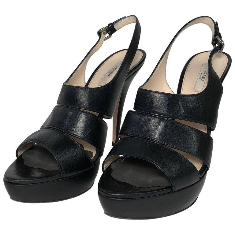 Prada Stiletto Platform Sling Back Peep Toe in Black Leather