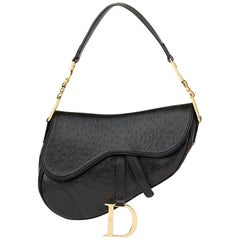 2000s Christian Dior Black Ostrich Leather Saddle Bag