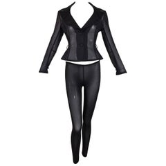 1990's Dolce & Gabbana Pin-Up Sheer Black Wasp Waist Jacket & Leggings