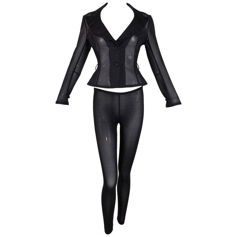 1990's Dolce & Gabbana Pin-Up Sheer Black Wasp Waist Jacket & Leggings