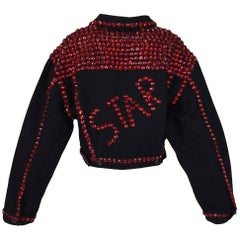 1992 Dolce & Gabbana Black Denim STAR Red Crystals Embellished Baggy Jacket Coat