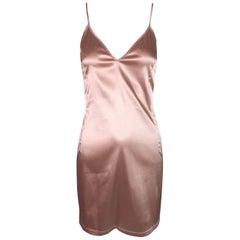 C. 2001 D&G by Dolce & Gabbana Blush Champagne Plunging Mini Slip Dress