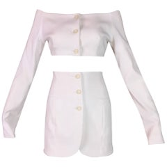 S/S 1992 Dolce & Gabbana Pin-Up Ivory Crop Top & High Waist Mini Skirt Set