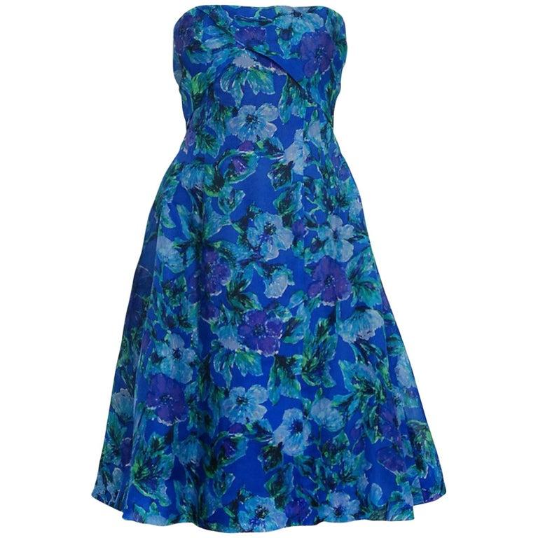 1958 Pierre Balmain Haute-Couture Blue Floral Silk Organdy Strapless Full Dress