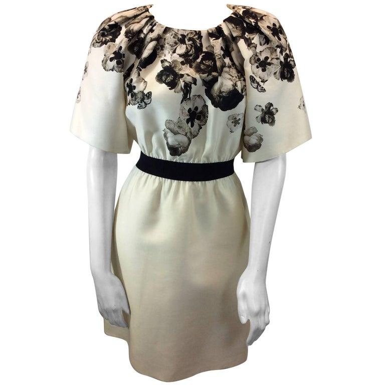 Giambattista Valli Black and White Print Silk Dress