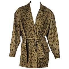 Tan Vintage Celine Leopard-Print Jacket