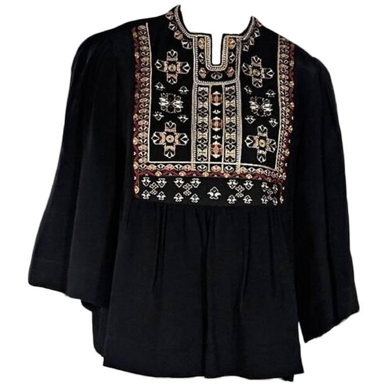 Black Isabel Marant Embroidered Top