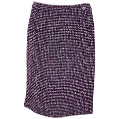 Purple & White Vintage Chanel Tweed Pencil Skirt