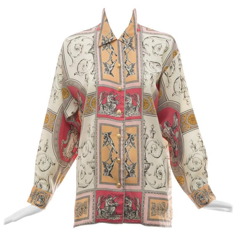Gianni Versace Cherub Print Silk Blouse, Circa 1990's