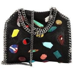 Stella McCartney Falabella Fold Over Crossbody Bag Embellished Shaggy Dee