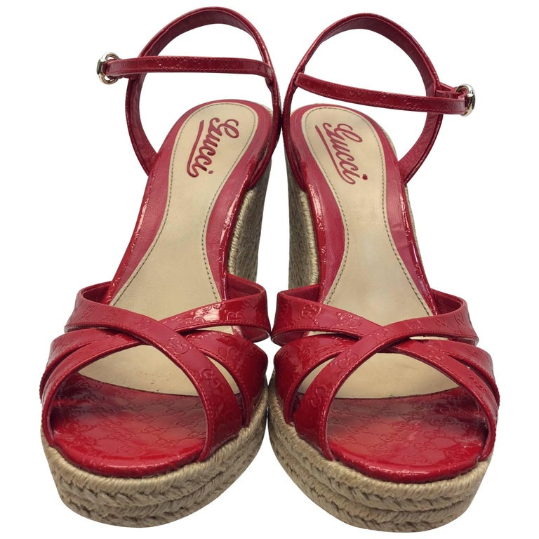 Gucci Red Patent Leather Wedge