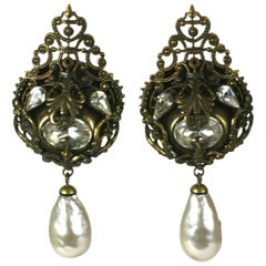 Nina Ricci French Haute Couture Pearl and Crystal Long Earclips