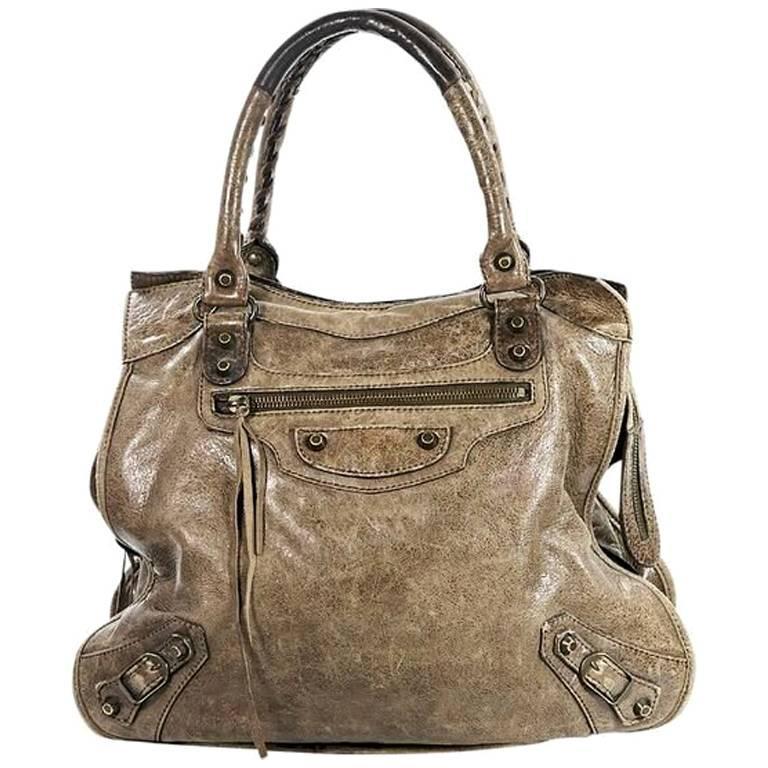 Brown Balenciaga Classic Velo Leather Bag