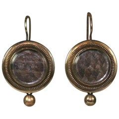 Victorian Memorial Hair Locket Earrings