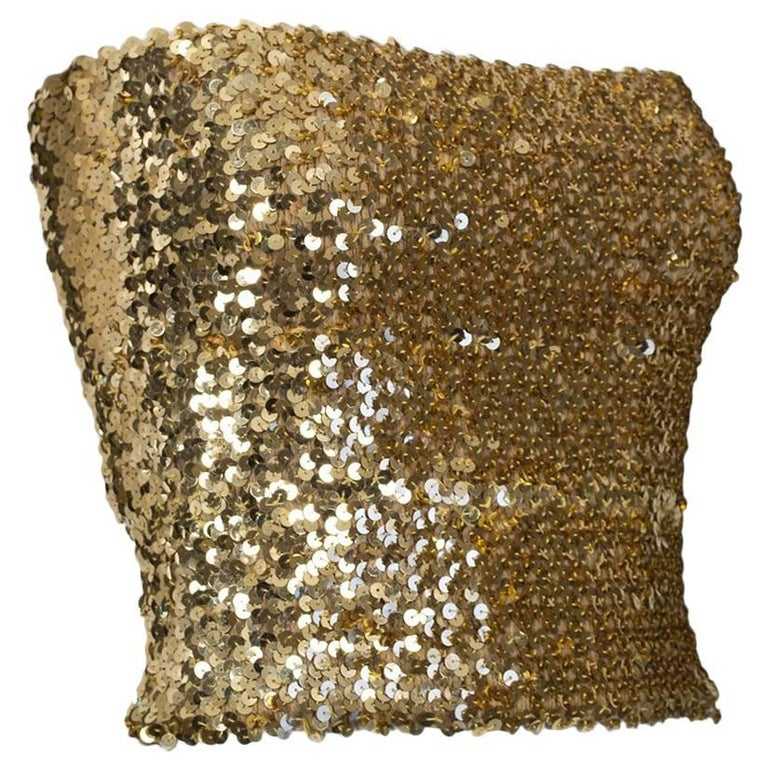 Gold Pavé Sequin Bandeau Tube Top - Neiman Marcus, 1970s