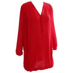 Oscar de la Renta Red Silk Chiffon Dress with Bubble Hem Sz 8 1990s
