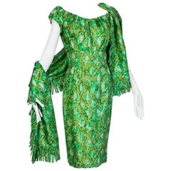 Mr Blackwell Off-Shoulder Snake Print Cocktail Dress and Wrap, 1960s