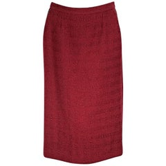 Red Chanel Wool Skirt