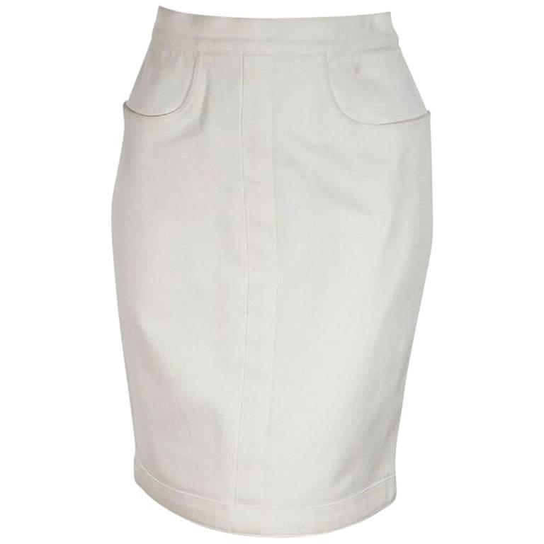 White Chanel Denim Cotton Skirt