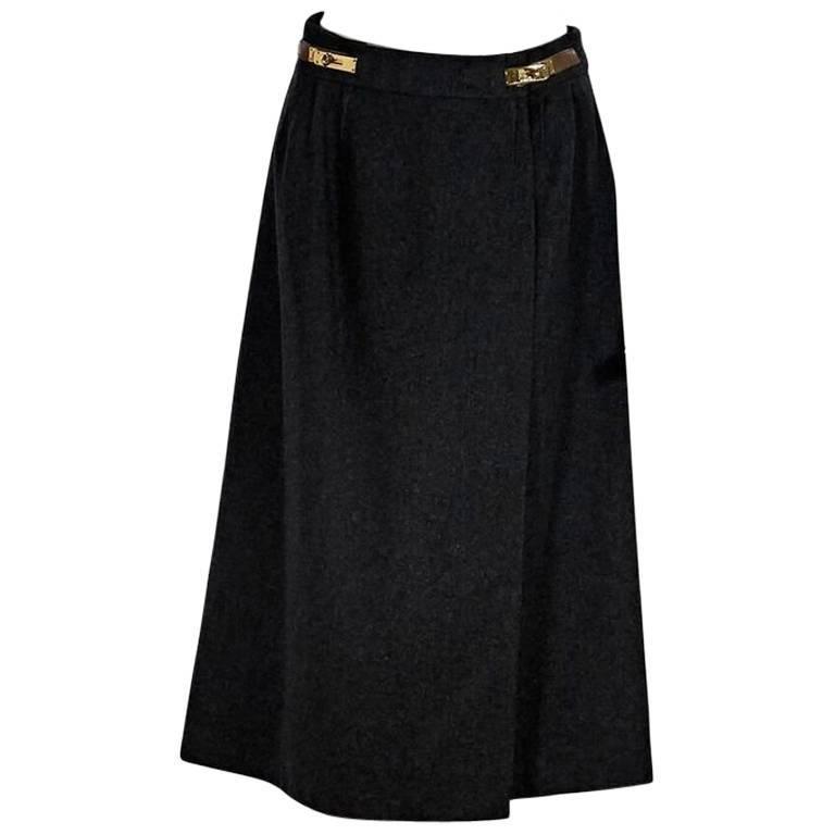 Grey Vintage Hermès Wool Long Skirt with Kelly Belt
