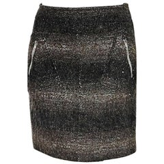 Black & Brown Chanel Wool Mini Skirt