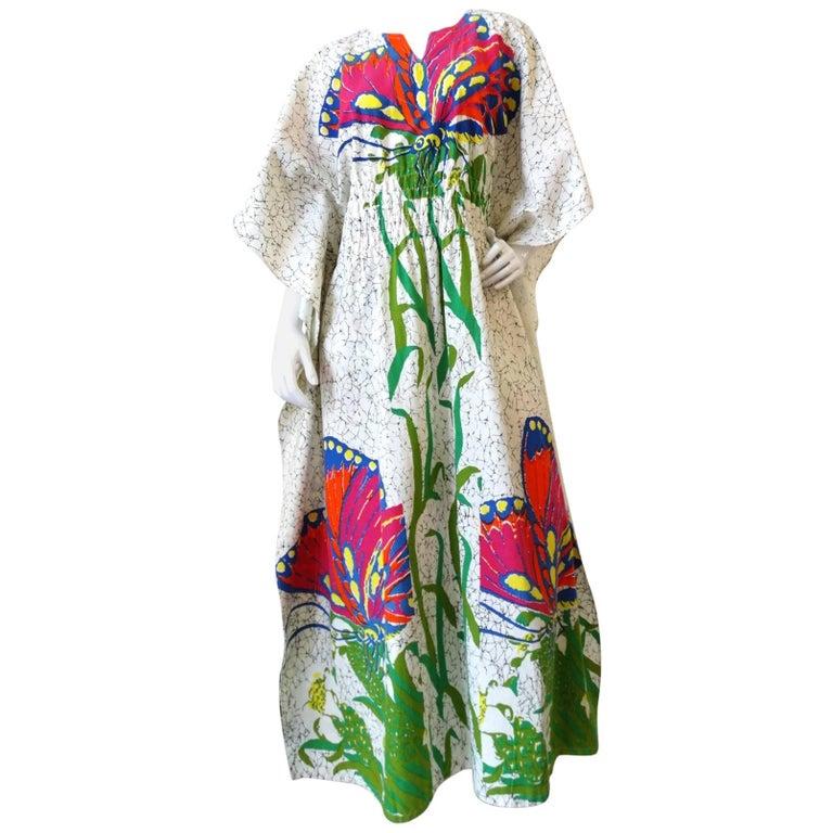 1970s Butterfly Printed Kaftan Dress