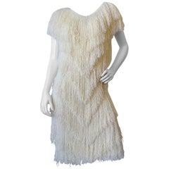 1980s French Rags Cream Fringe Dress
