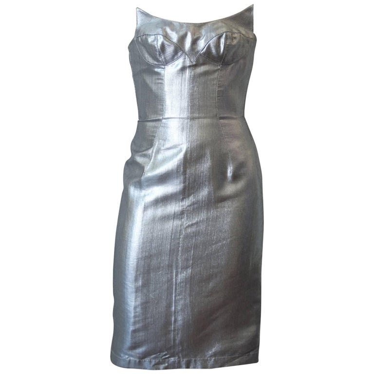 Thierry Mugler Couture Silver Sculpture Dress, Spring 1989