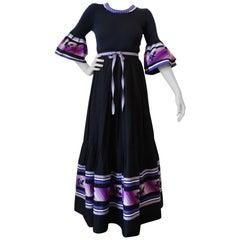 1980s Yves Saint Laurent Bell Sleeve Maxi Dress