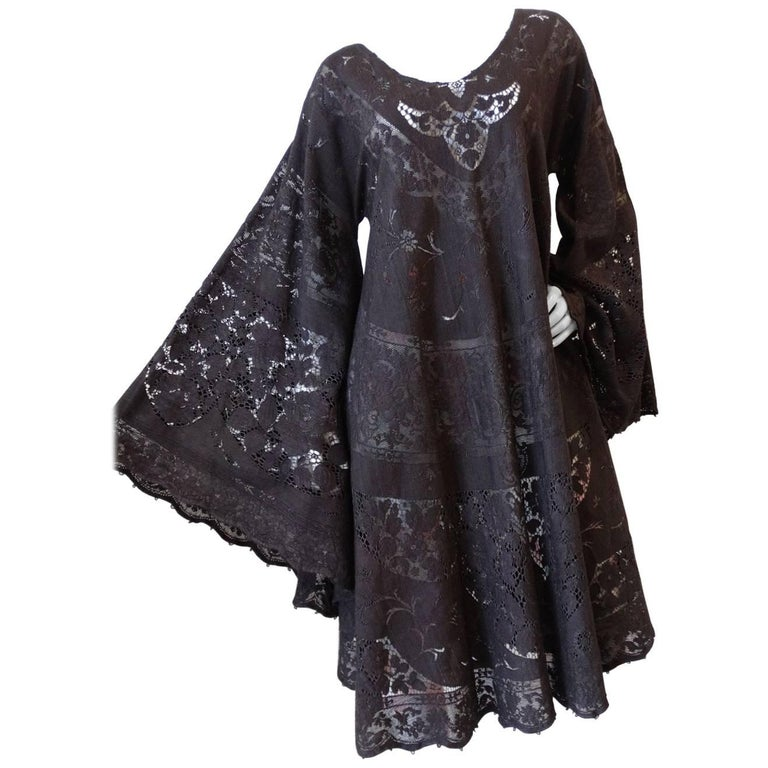 1970s Dark Grey Lace Angel Wing Dress