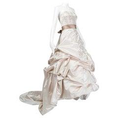Oleg Cassini Strapless Swarovski Crystal Chapel Train Wedding Gown, 2000s