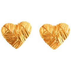 1980's YVES SAINT LAURENT gilt heart earrings