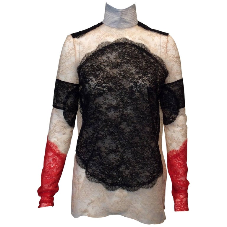 Black, Red, Ivory And Nude Lace High-Collared Givenchy Long-Sleeve Top Sz36(Us4) For Sale