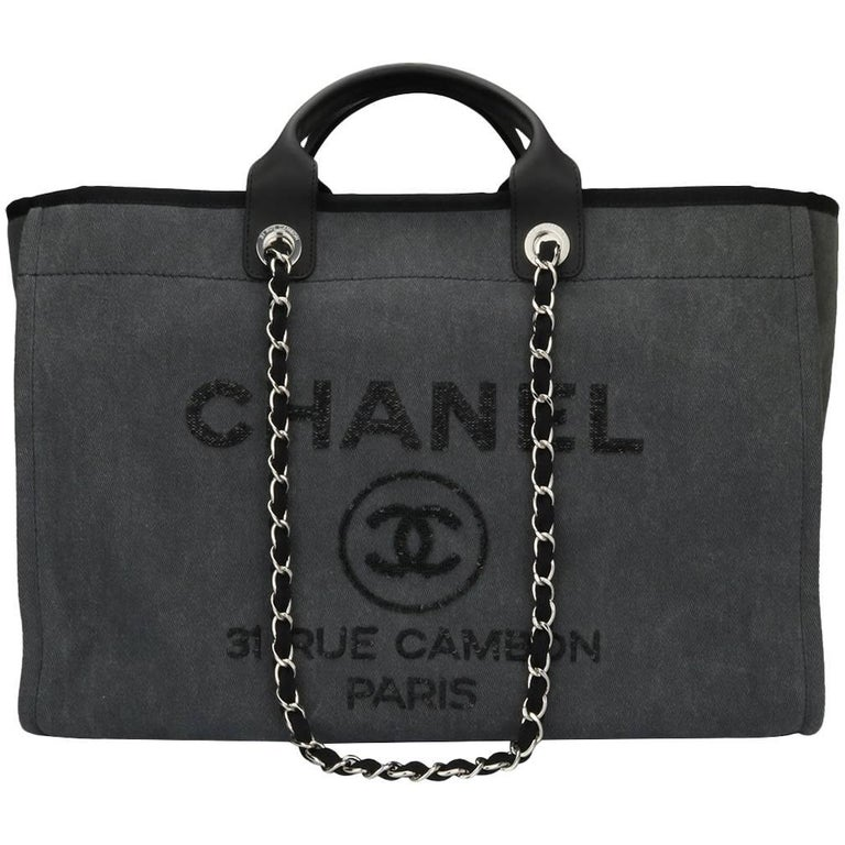 dfb7db874d49 CHANEL Deauville Tote Large Grey Sequins Canvas with Silver Hardware 2017  For Sale
