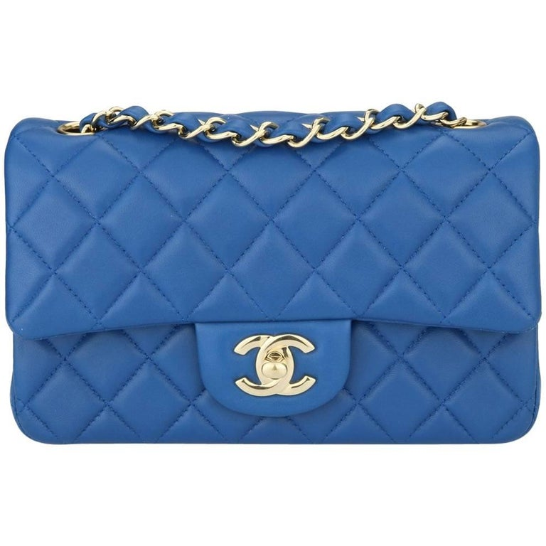 CHANEL Rectangular Mini Blue Lambskin with Light Gold Hardware 2017