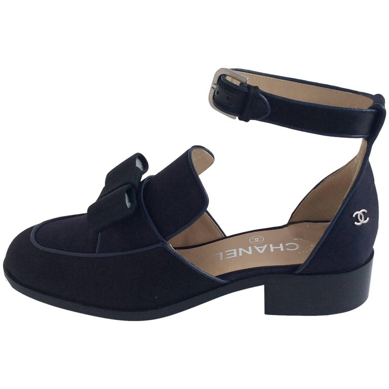 Chanel Black and Navy Satin Sandals With Grosgrain Bows