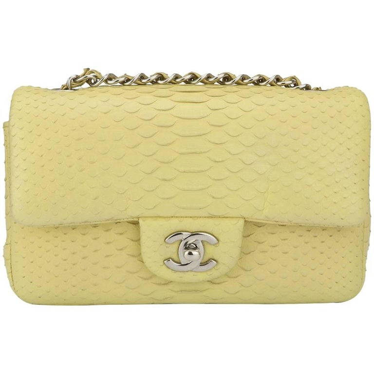 Chanel Yellow Python Rectangular Mini Bag with Silver Hardware, 2014
