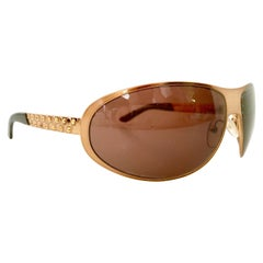 Prada Italy Rose Gold Swarovski Crystal Sunglasses