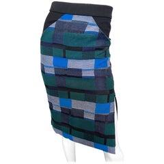 Zero + Maria Cornejo Block Print Black + Blue + Green High Waisted Pencil Skirt