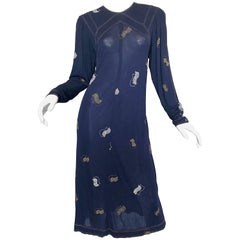 Vintage Jean Muir 1980s Does 1930s Navy Blue Hand Painted Art Deco Jersey Dress