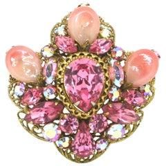 1950's Pink Stone Brooch by Regency