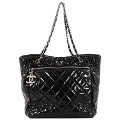 Chanel CC Charm Tote Quilted Patent Vinyl Large