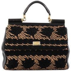 Dolce & Gabbana Miss Sicily Handbag Floral Lace Large